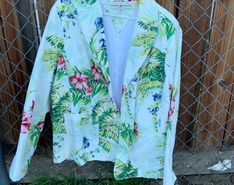 Vintage Tommy Hilfiger Woman's Floral Print Blazer Jacket, Free shipping