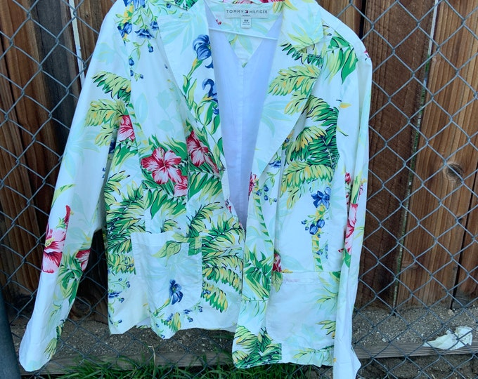 Vintage Tommy Hilfiger Woman's Floral Print Blazer Jacket, Free shipping