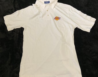 New deadstock Los Angeles Lakers size large embroidered polo shirt. Free shipping