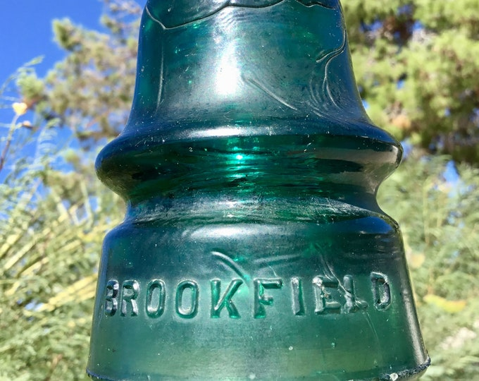 Vintage Glass Insulator Brookfield from 1890s Original glass antique railroad telegraph pole insulator. Rare with straw marks Free shipping
