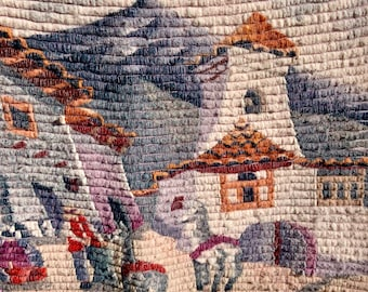 Hand Woven wall art from Peru signed by artist V. Yuri. Woven wall art Vintage with Llamas. Free shipping