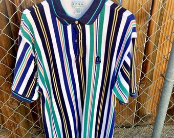 Vintage Izod multi color polo shirt in excellent vintage condition size Large  Free Shipping