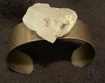 Bronze Color Metal Cuff Bracelet with Joshua Tree Found Raw Quartz Heart Shaped Stone