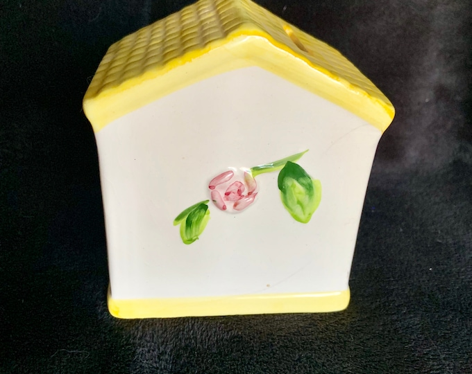 Vintage ceramic piggy bank yellow roof building. 1980s coin bank. Free shipping