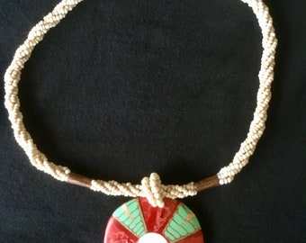Beautiful Natural Shell and Wooden Beaded stone Necklace in great condition with Free Priority Mail Shipping