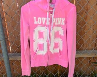 Bright Pink Love hoddie by Victorias Secret i  great shape womens size medium.  Free shipping