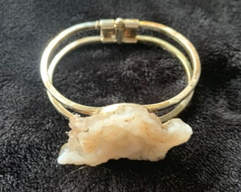 Metal Cuff Bracelet with Joshua Tree Found Raw Rock, Natural Stone