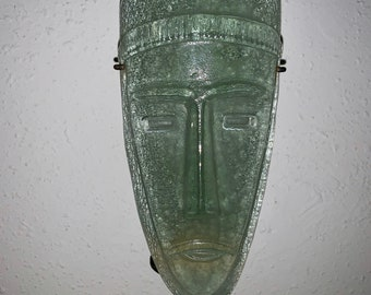 Rare Glass Mask wall art candle holder. Thick heavy and unique. Free shipping in USA