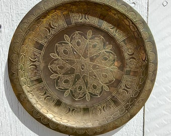 Hand hammered and stamped copper plate wall hanging. Free shipping