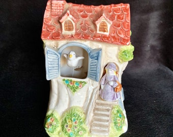 Vintage 1980s Schmid #138 rare Ceramic music box with moving bird. Free Priority Mail Shipping