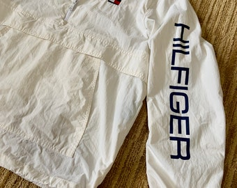 Vintage Tommy Hilfiger white windbreaker 1990s classic rare and unique. Free shipping.
