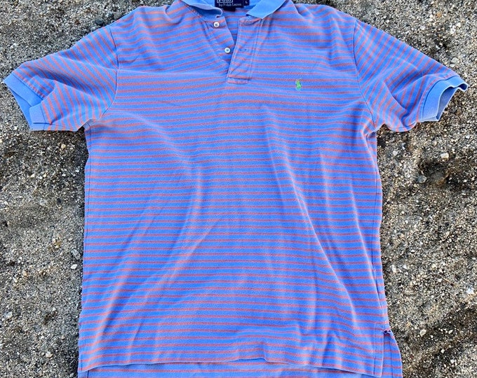 Vintage Polo by Ralph Lauren striped polo shirt in vintage condition size large  Free Shipping
