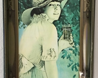 """1970s Reproduction of 1916 Serving tray """"Elaine"""" Coca Cola 1916 advertisement 1972 reprint."""