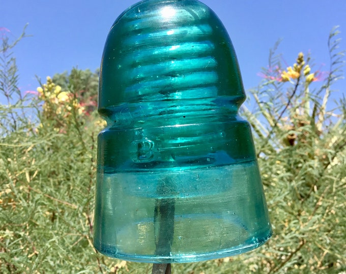 Vintage Glass Insulator Brookfield from 1880s - B embossed Original glass antique railroad telegraph pole insulator. Pre drilled available