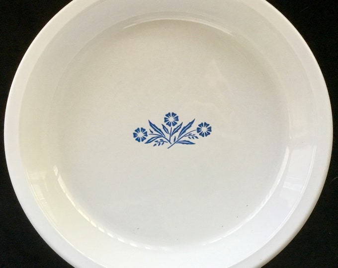"Corningware Cornflower White Milk Glass Pie Plate, 9"" Ceramic Pie Dish, Blue and White Mid Century Serving Dish, Vintage Kitchen"