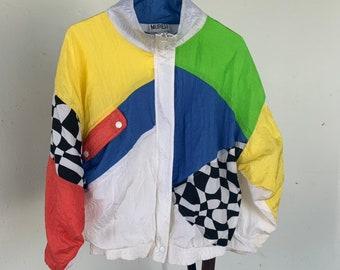 Rad 1980s neon nylon jacket. Super cool vintage jacket. Free shipping