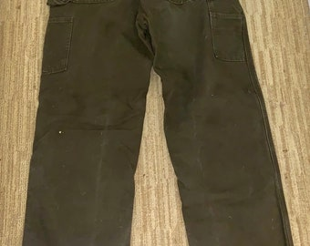 Vintage all weather Carhartt pants. Flannel lined pants. Free Shipping