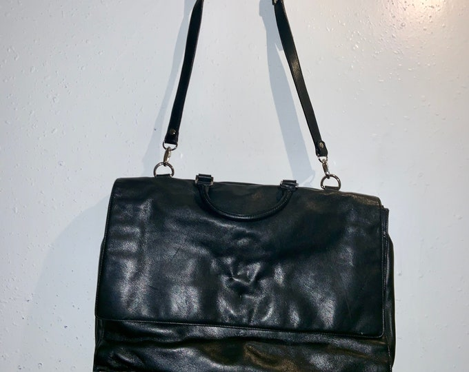Black Leather Nordstroms Messengers Bag, Deadstock in new condition. Free Priority Mail Shipping