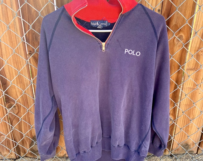 Vintage Polo by Ralph Lauren Mock Turtleneck Zip up sweater in size small. Excellent Condition. Free shipping