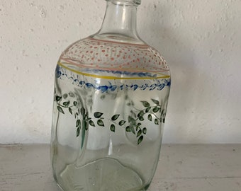 Vintage handpainted whiskey bottle from Portugal, very cool handmade bottle with art, Free Shipping
