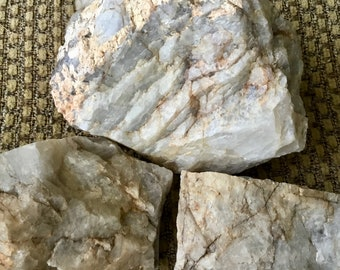 3 Large Pieces of Raw Mixed Rose, Smoky and White Quartz Crystal Rock. 9.8 pounds of Ethically Collected From Joshua Tree. Healing Crystal