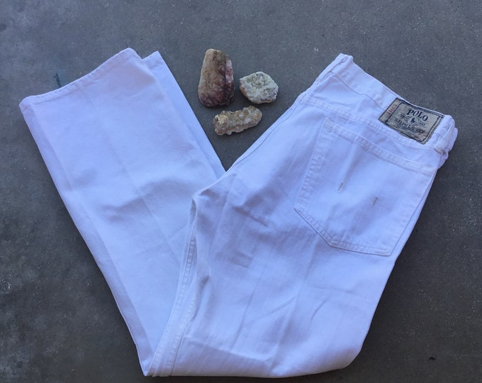 Men's Polo Ralph Lauren White Jeans, Like New. Size 35 x 30. Free Priority Mail Shipping in the USA