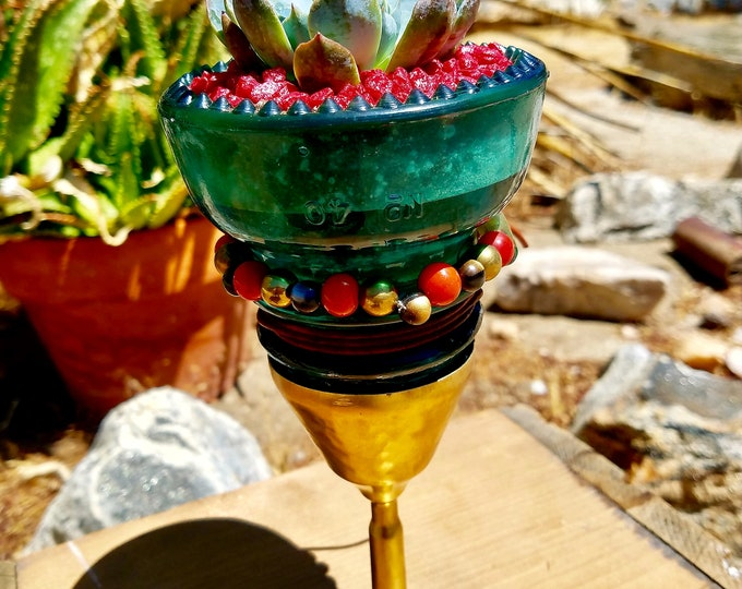 Decorative vintage Hemingray Glass Insulator, Railroad signal line and telegraph glass insulator with Succulent Plant and vintage brass base