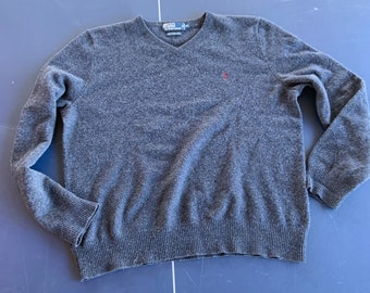 Vintage Polo by Ralph Lauren Lambs wool v-neck sweater in good shape.  Free shipping