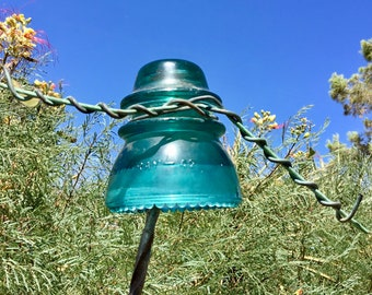 Vintage Hemingray - 42 very old original Green glass antique railroad insulator with its original wire still attached. Pre drilled available
