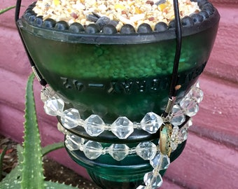 Electrical Telegraph Insulator Hemingray No 42 Bird Feeder or Votive Candle Holder Handmade in Joshua Tree, Ca.