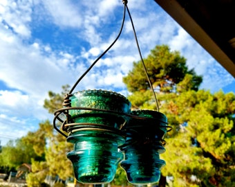 Double Glass Insulator Hemingray No 42 Bird Feeder, Succulent Planter, or Votive Candle Holder.