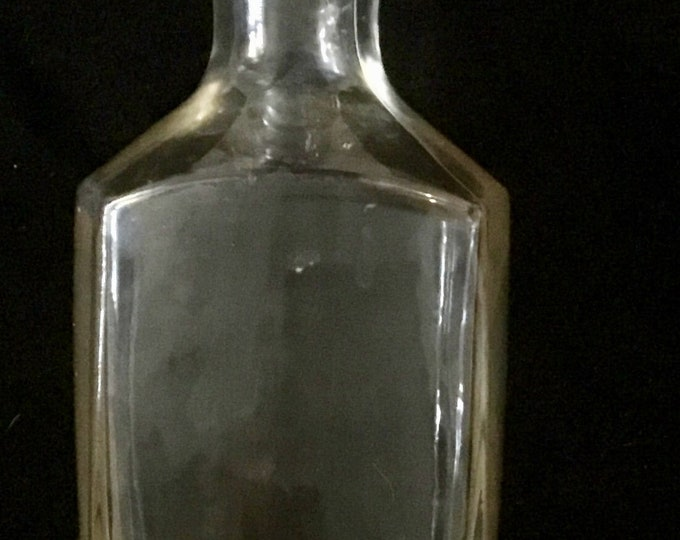 Vintage whiskey decanter bottle with a solid round crystal top. Free Priority Mail Shipping
