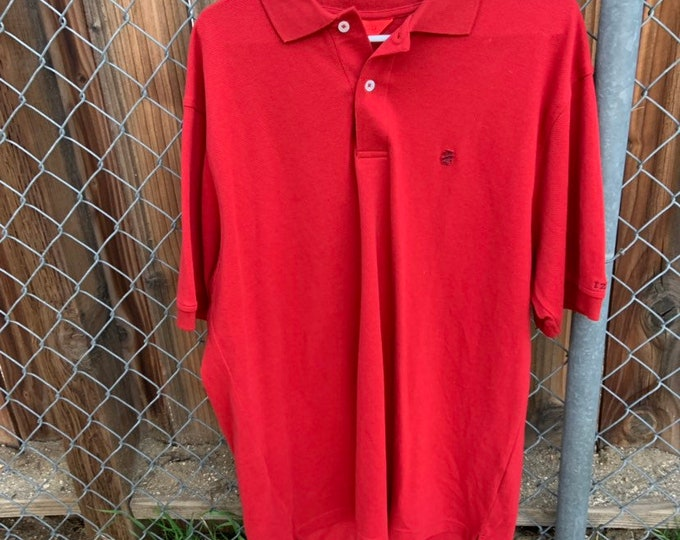 Vintage Izod red polo shirt in excellent vintage condition size Large  Free Shipping