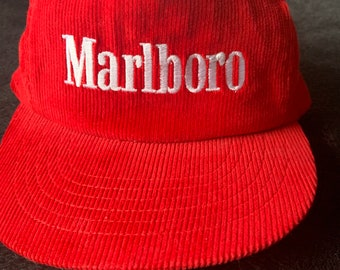 Vintage 1990s Marlboro red corduroy snap back hat. Free shipping in the USA