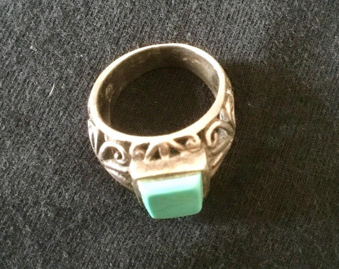 Vintage Silver and Turquoise Square Stone Ring, Size 7/8