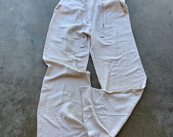 Vintage 1990s BCBGMAXAZRIA Lightweight Rayon cream colored baggy pants size 2. Free shipping