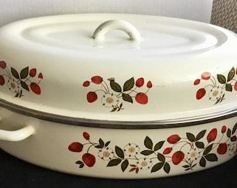 Vintage Strawberries & Cream Sheffield Roasting Pan