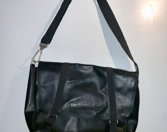 Black Leather Timberland Messengers Bag, Deadstock in new condition. Free Priority Mail Shipping