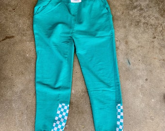 Vintage 1980s sweat pants with checkerboard fabric sewn on. Free shipping