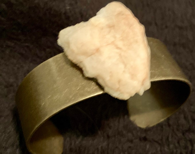 Bronze Color Metal Cuff Bracelet with Joshua Tree Found Raw Rose Quartz Rock, Natural Stone