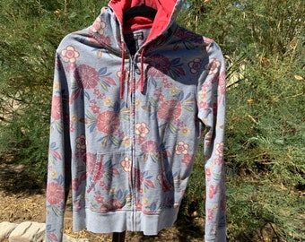 Lucky Brand vintage inspired floral print retro zip up hoodie  womens size medium, Free Shipping