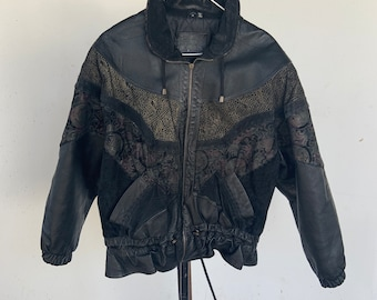 Vintage 1980s Leather and Suede jacket. Free shipping