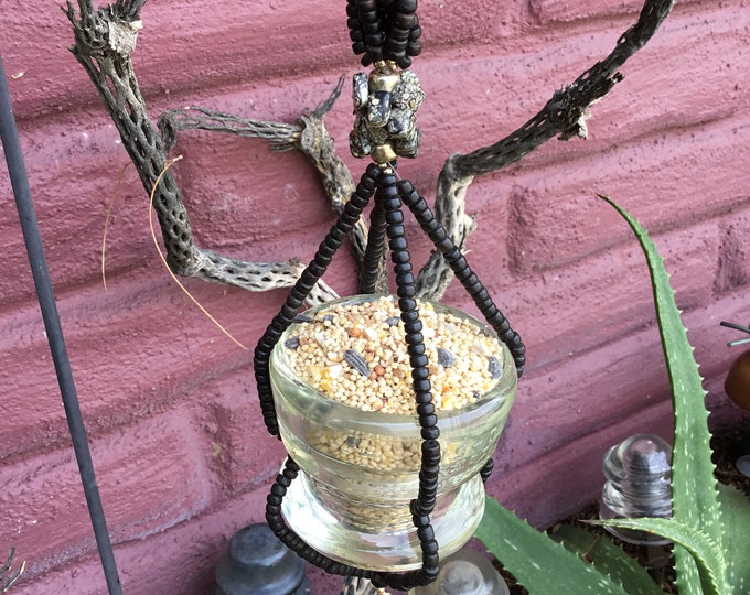 Hemingray Lowex D-510 Glass Insulator Upcycled into a Bird Feeder, Succulent Planter, or Votive Candle Holder