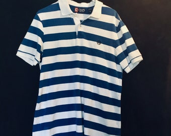 Vintage 1990s Chaps Polo Shirt. Blue and White in adult Medium. Free Shipping