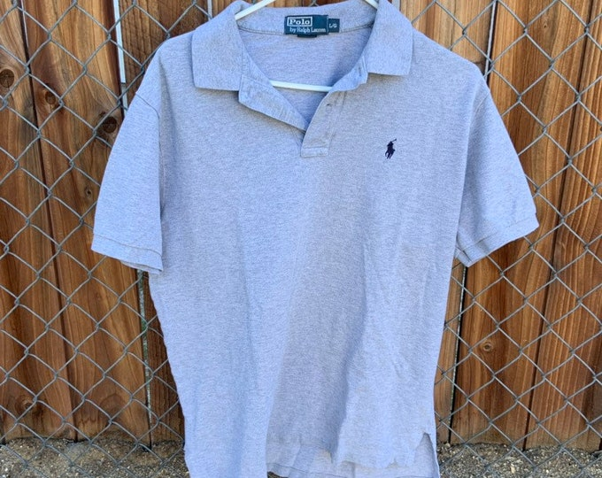 Vintage Polo by Ralph Lauren grey polo shirt in vintage condition size Large  Free Shipping
