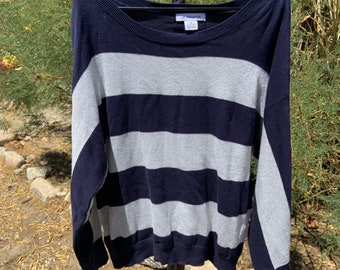 Liz Claiborne wide neck sweater with shiny metallic gray and blue stripes  size xl, Free Shipping
