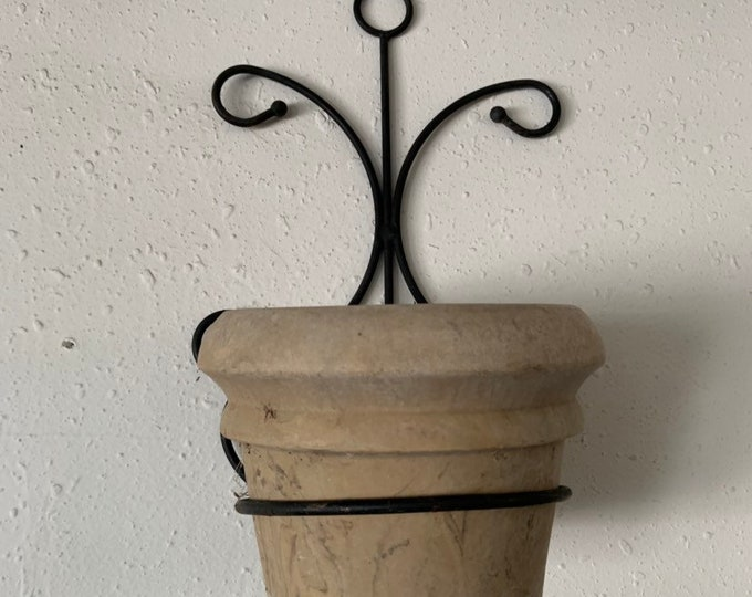 Vintage 1960s metal wall art plant holder, Free Shipping