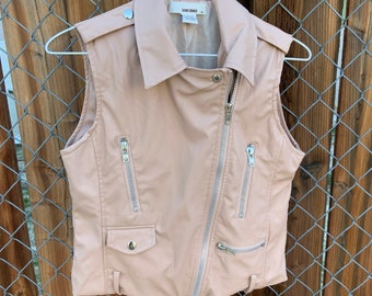 1980s Faux Leather Vest with Zippers & Pockets, Free Shipping