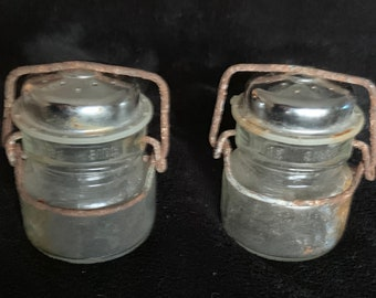 Vintage rusty old wire close salt and pepper shakers. Free shipping