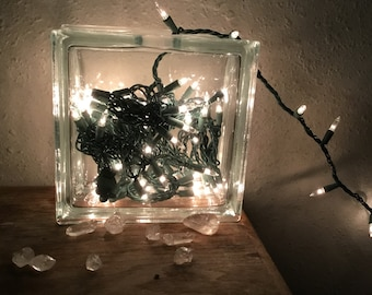 Glass brick blank with white light strand. Unique home decore super cool Free Shipping